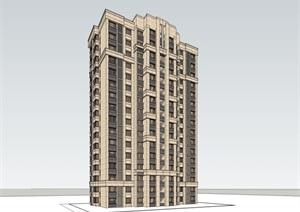 16层欧式风格高层住宅建筑设计su(SU(草图大师))精品模型