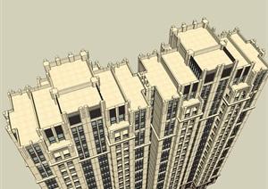 18层西方新古典风格高层住宅建筑设计su(SU(草图大师))模型