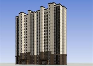 18层西方新古典风格高层住宅建筑设计su(SU(草图大师))精品模型