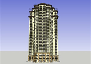 20层西方新古典高层住宅建筑设计su(SU(草图大师))模型