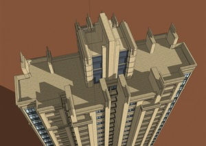 28层西方新古典高层住宅建筑设计su(SU(草图大师))模型