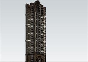 33层西方新古典高层住宅建筑设计su(SU(草图大师))模型