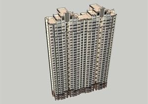 33层西方新古典住宅建筑设计su(SU(草图大师))精品模型