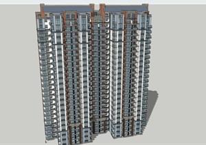 24层板式新古典住宅建筑设计su(SU(草图大师))精品模型
