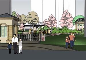 欧式小区居住区入口详细景观设计SU(草图大师)模型