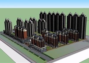 詳細的完整住宅高層建筑樓設計SU(草圖大師)模型