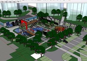 住宅详细的小区景观设计SU(草图大师)模型