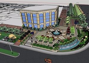 售楼处详细的商业景观设计SU(草图大师)模型