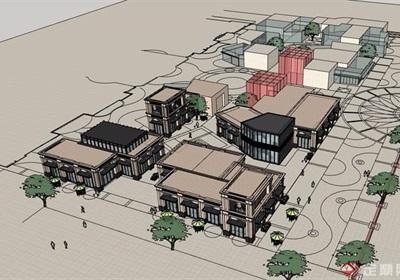 新古典风格详细的商业建筑楼设计su模型