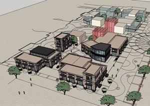 新古典风格详细的商业建筑楼设计SU(草图大师)模型