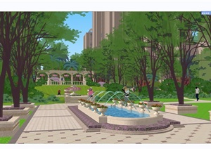 欧式小区住宅详细景观设计SU(草图大师)模型