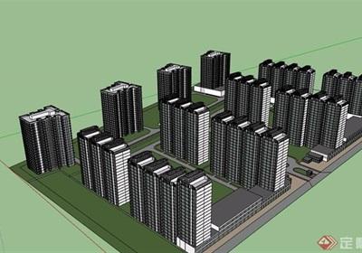 现代风格住宅区高层建筑楼su模型