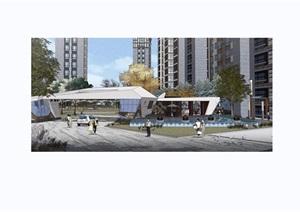 住宅小区节点景观节点素材设计SU(草图大师)模型