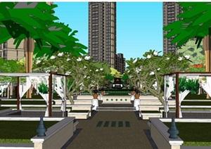 某住宅详细小区景观设计SU(草图大师)模型