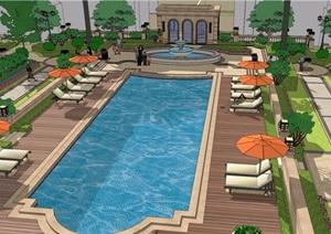 住宅詳細的小區中庭景觀設計SU(草圖大師)模型