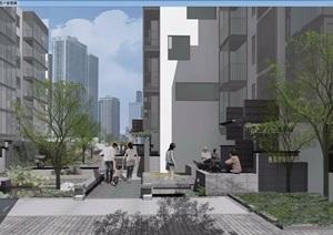 一個社區改造住宅景觀設計SU(草圖大師)模型
