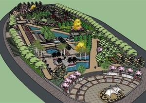 现代风格休闲公园景观设计SU(草图大师)模型