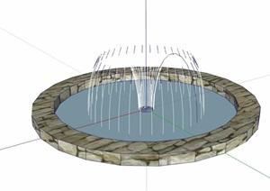 现代风格详细的圆形喷泉水池设计SU(草图大师)模型