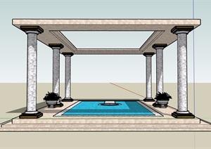 详细的完整水池水景素材设计SU(草图大师)模型