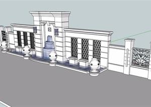 歐式風格詳細的水池景墻素材設計SU(草圖大師)模型