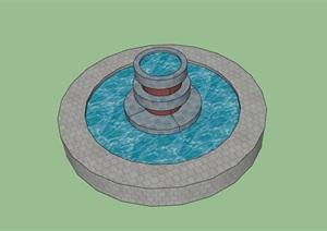 圆形独特的水池设施素材设计SU(草图大师)模型