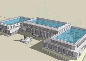 园林景观节点喷泉水池素材设计SU(草图大师)模型