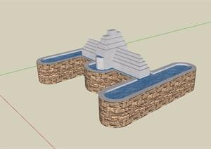 现代独特的水池素材设计SU(草图大师)模型