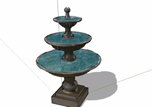 歐式獨特詳細的水缽素材設計SU(草圖大師)模型