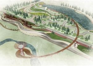 城市滨水休闲景观带公园jpg方案及SU(草图大师)模型