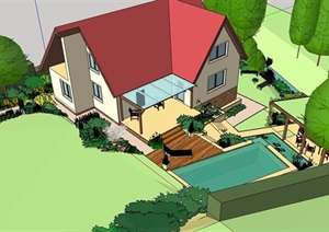 欧式别墅住宅庭院景观设计SU(草图大师)模型