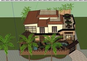 住宅歐式風格別墅建筑及庭院設計SU(草圖大師)模型