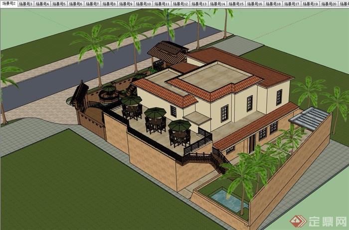 住宅歐式風格別墅建筑及庭院設計su模型