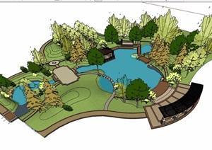 详细的庭院花园景观设计SU(草图大师)模型