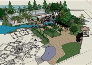 欧式风格详细的别墅住宅庭院花园设计SU(草图大师)模型