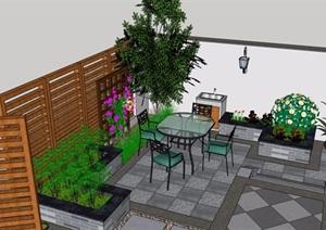 详细的现代庭院花园设计SU(草图大师)模型