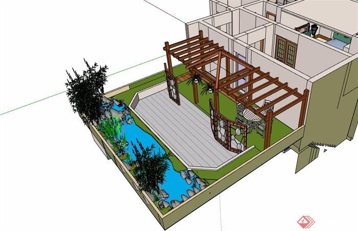 屋顶花园简单设计su模型