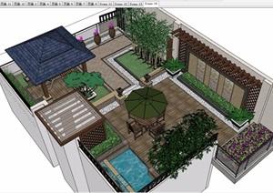 详细的完整庭院花园景观设计SU(草图大师)模型