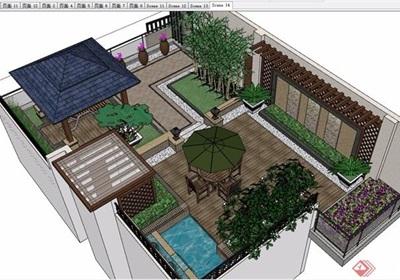 详细的完整庭院花园景观设计su模型