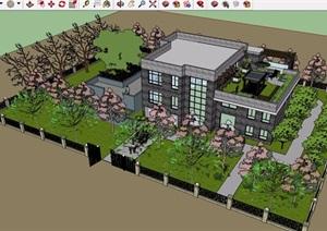 现代风格详细的住宅别墅三层建筑设计SU(草图大师)模型