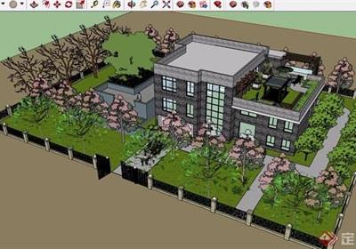 现代风格详细的住宅别墅三层建筑设计su模型