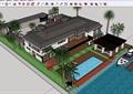 美式风格住宅别墅及庭院花园su模型