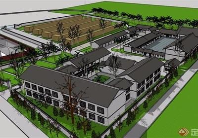 中式风格庭院住宅建筑设计su模型