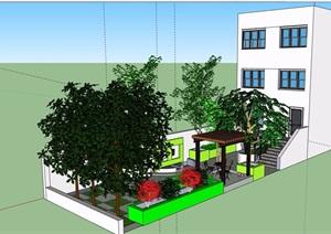 某详细的完整庭院花园设计SU(草图大师)模型