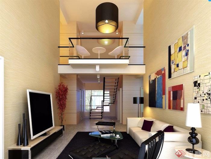 现代风格详细的客厅室内装饰空间设计3d模型及效果图