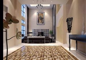 住宅详细的室内客餐厅空间装饰设计3d模型及效果图