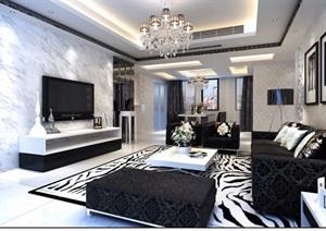 详细的住宅室内客厅空间装饰设计3d模型及效果图