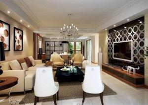 住宅详细的完整客厅空间装饰设计3d模型及效果图