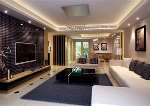 详细的整体住宅室内客厅装饰设计3d模型及效果图