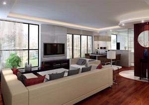 详细的完整现代住宅室内客厅空间装饰设计3d模型及效果图