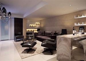 现代详细的完整室内客厅餐厅室内设计3d模型及效果图